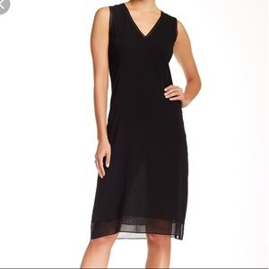 NWT Vince Silk Blend V- neck Black Dress
